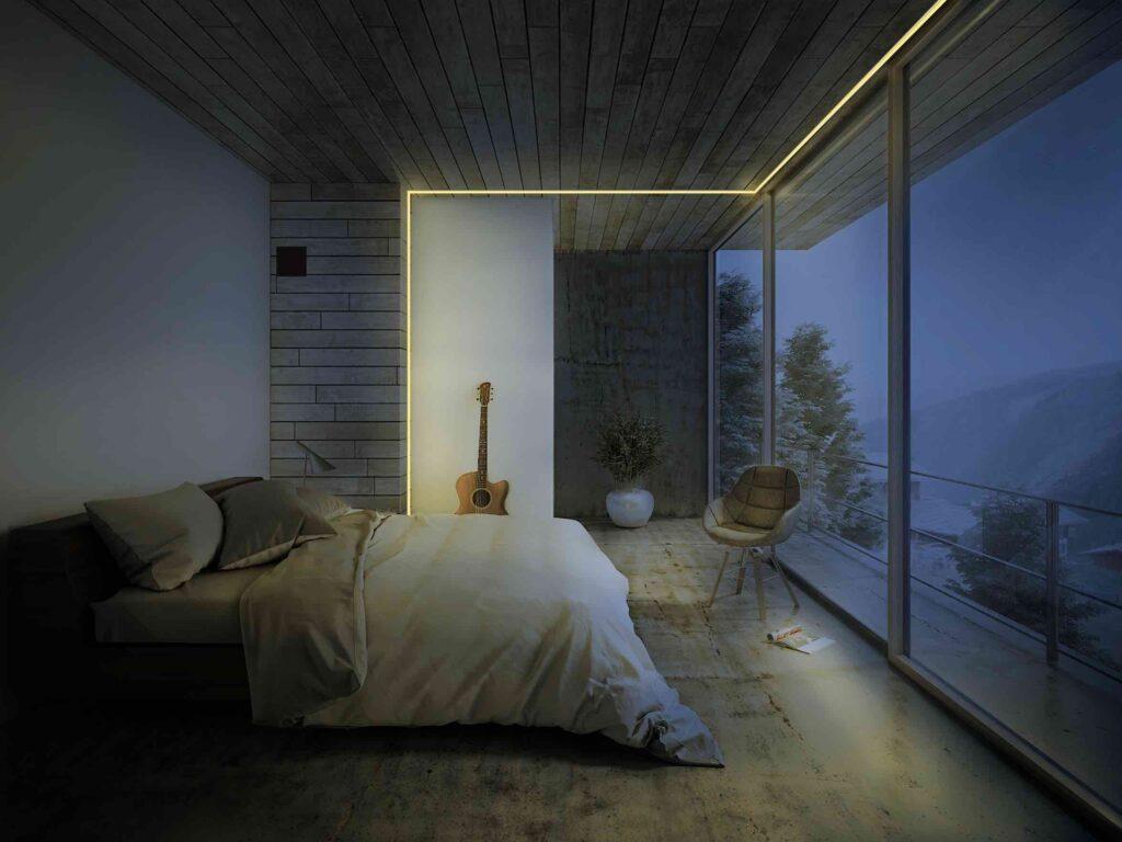 luces led habitacion lineas en el techo