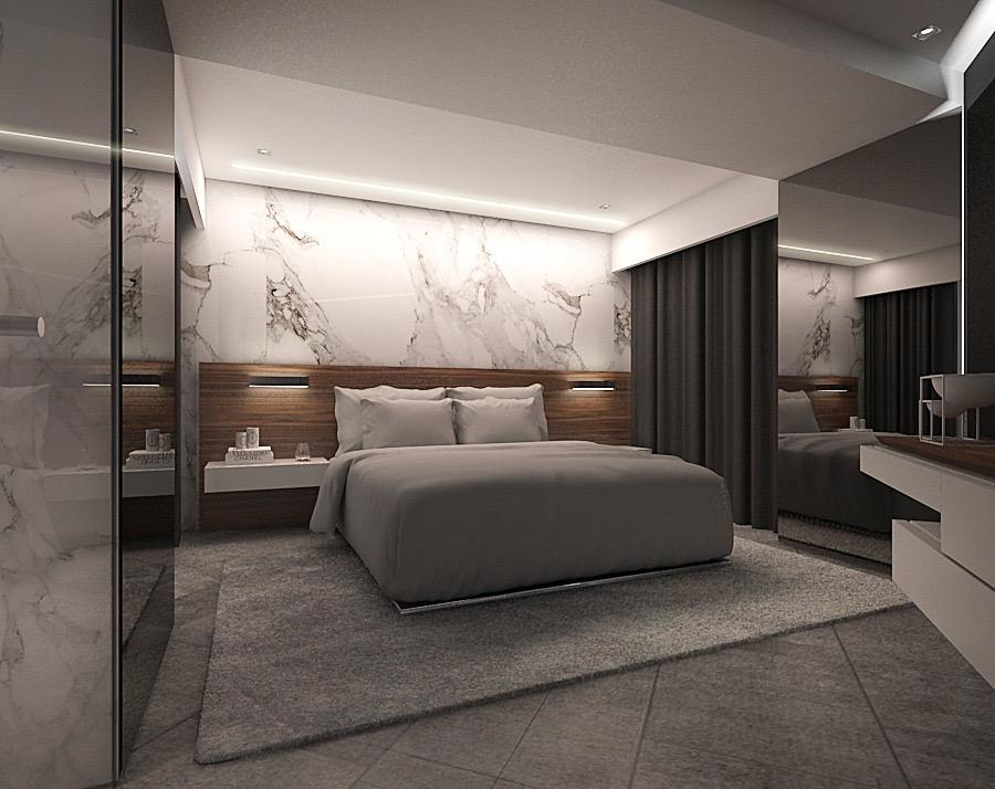 Dormitorio de lujo con luz ambiental