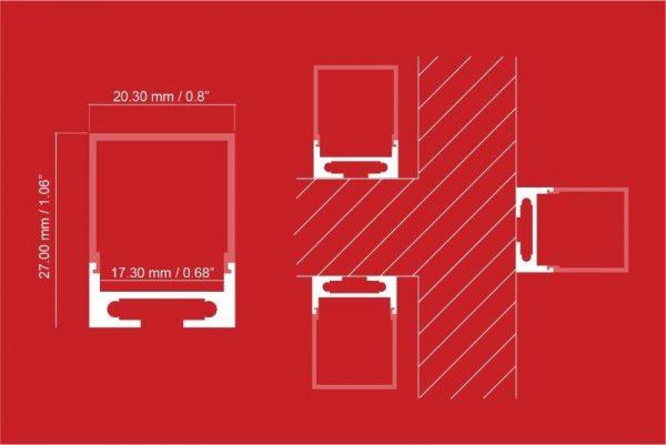 medidas de perfil de aluminio para iluminación LED para baño