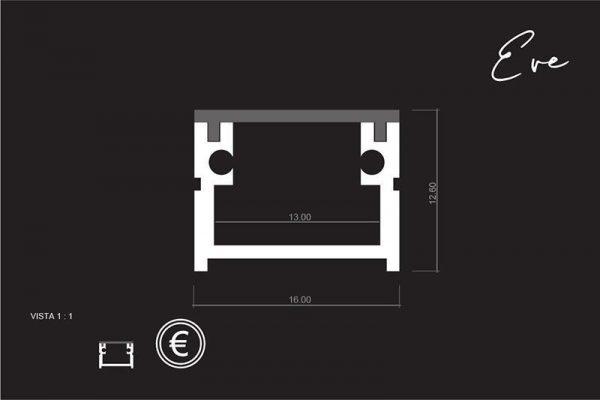 Perfil para tira LED EVE LUMSTOCK medidas