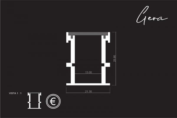 medidas del Perfil para tira LED GERA de LUMSTOCK