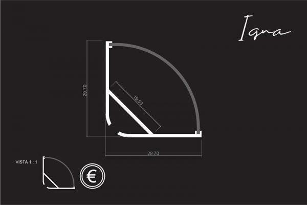 Perfil para tira LED IGNA LUMSTOCK medidas