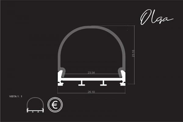 Perfil para tira LED OLGA LUMSTOCK medidas