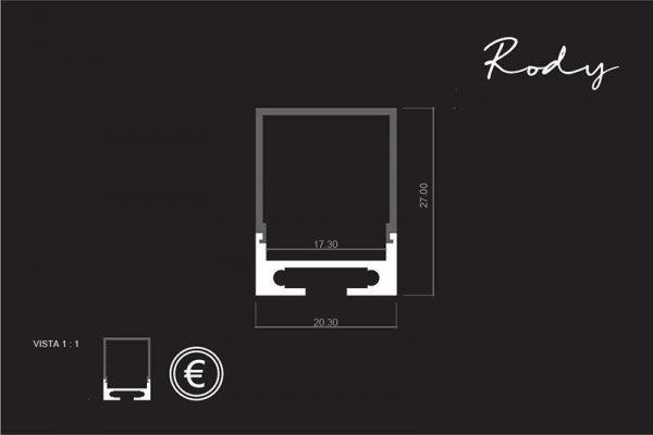 medidas de Perfil para tira LED RODY