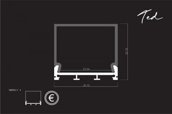 Perfil para tira LED TED medidas