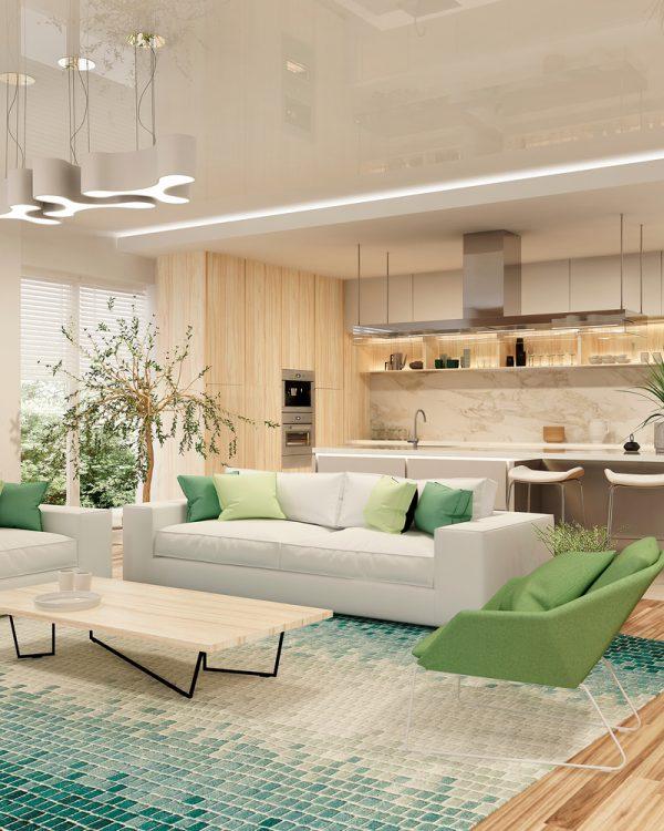 salón comedor moderno colores verdes