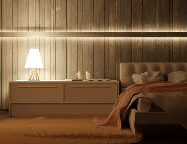 perfil tira LED doble emisión para luz ambiental sobre la cama