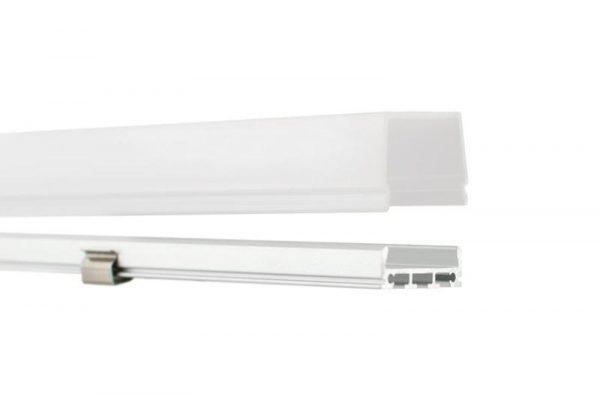 Perfil para tira LED TED tiene un protectos de policarbonato color MILKY