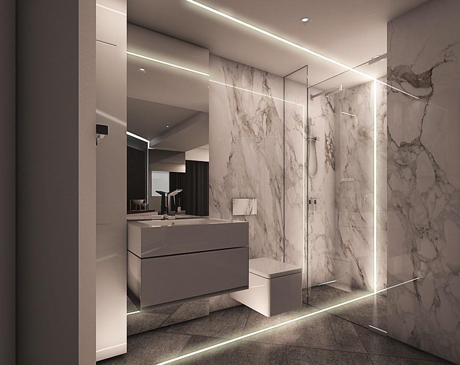 baños modernos con iluminación LED
