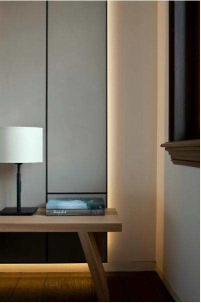 dormitorio de matrimonio moderno luz de acento