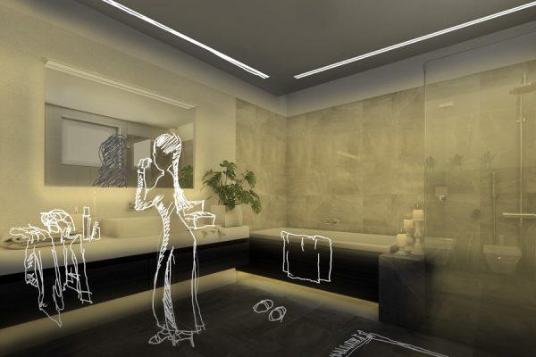 iluminacion led para baños para un espacio de revista