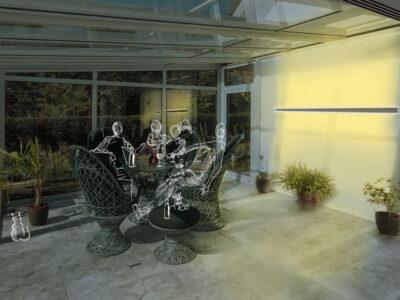 Doble emisión de luz para exterior